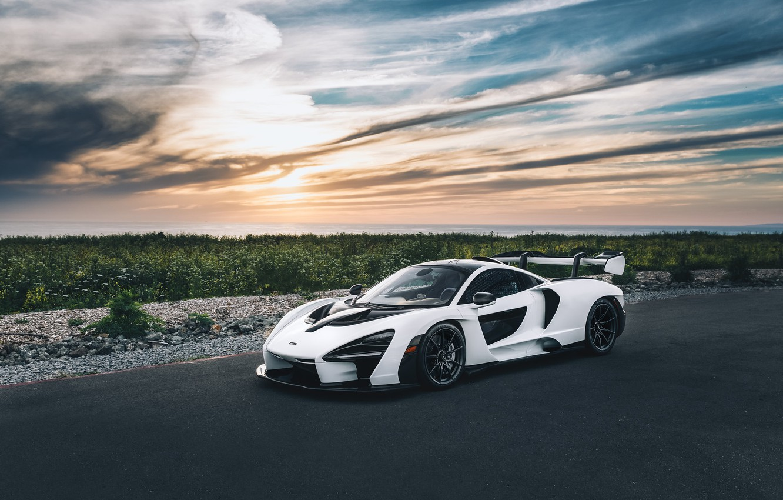 Photo wallpaper road, white, supercar, sports car, McLaren Senna