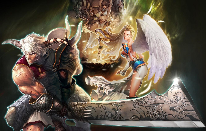 Photo wallpaper girls, sword, warrior, horns, male, Maestia