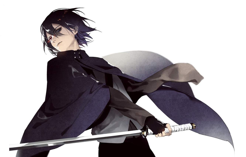 Wallpaper Look Katana White Background Guy Cloak Sasuke