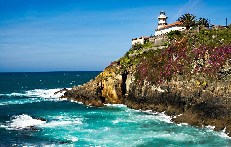 Photo wallpaper sea, landscape, nature, rock, lighthouse, Spain