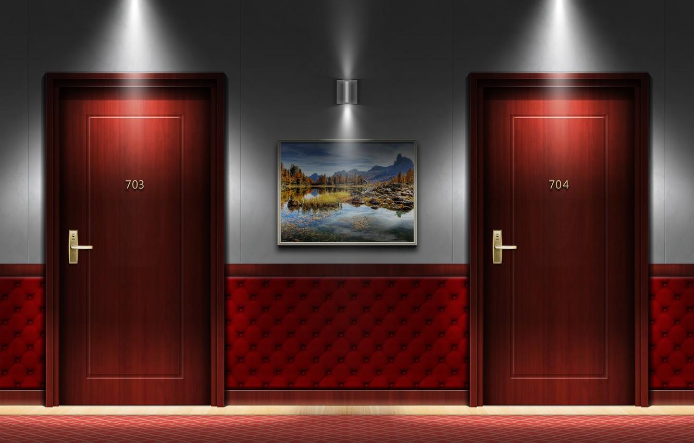 Photo wallpaper hotel, interior, door, hallway, my works
