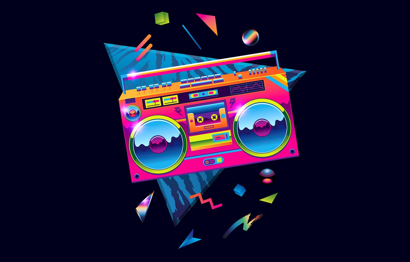 Wallpaper Color Minimalism Music Retro Background 80s
