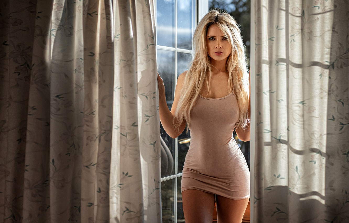 Photo wallpaper look, sexy, model, portrait, makeup, figure, dress, hairstyle, blonde, beauty, is, curtains, posing, Louisa Marie, …