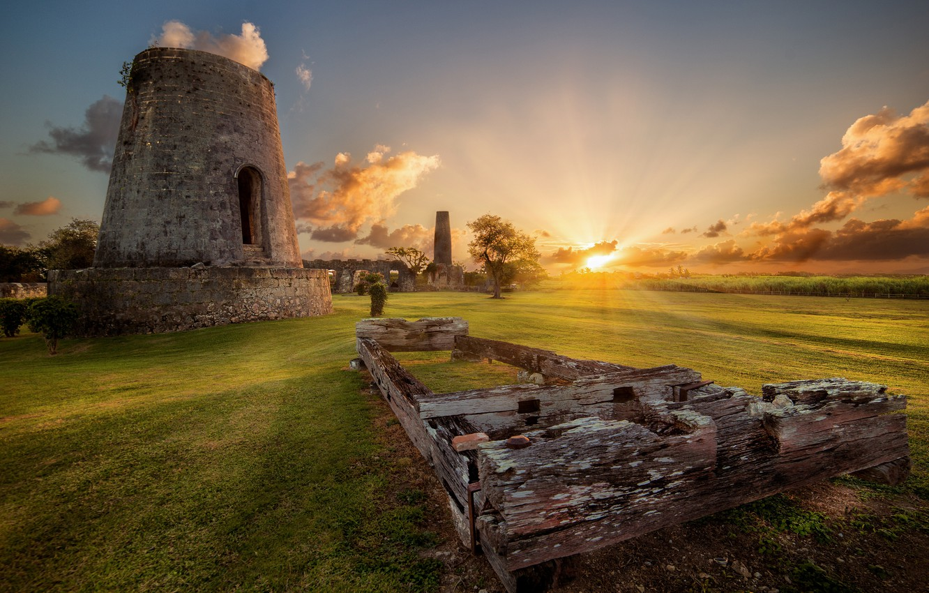 Photo wallpaper field, the sky, old, Board, tower, ruins