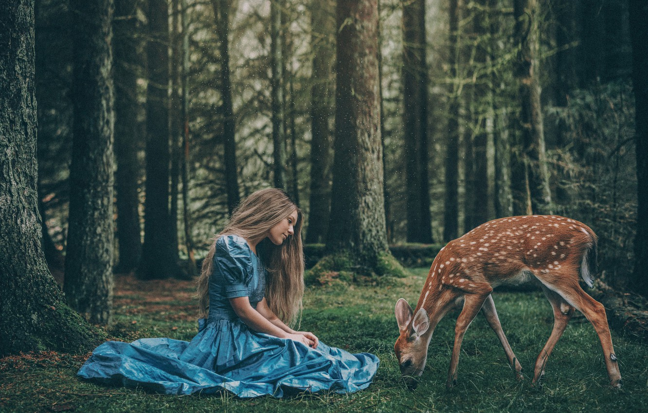 Photo wallpaper forest, girl, kindness, hair, cute, the situation, dress, fawn, nymph