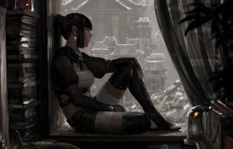 Photo wallpaper look, girl, pose, street, window, art, profile, sitting, GUWEIZ