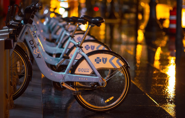 Photo wallpaper drops, night, bike, the city, lights, glare, rain, street, tile, the evening, Parking, Parking, the …