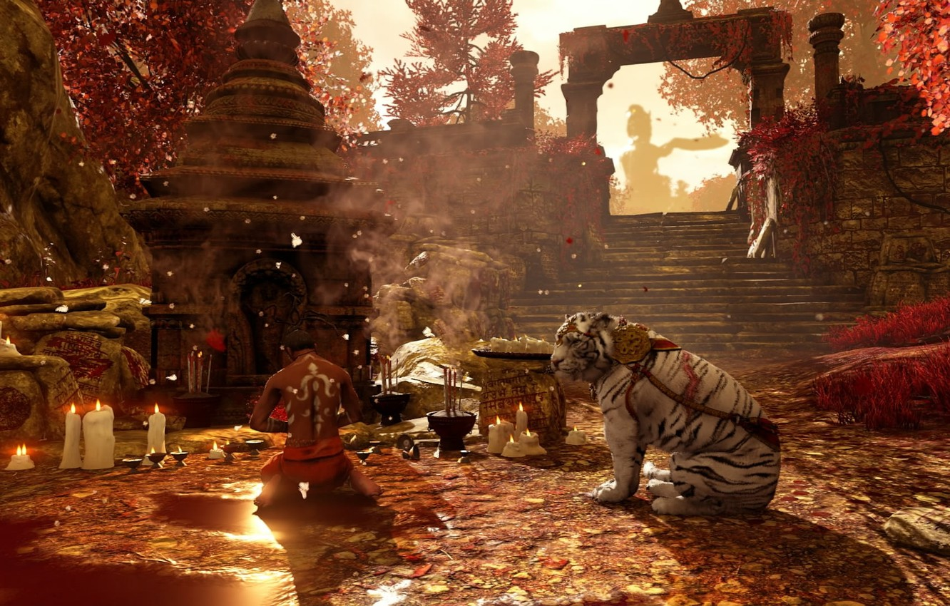 Photo wallpaper candles, stage, temple, male, ruins, white tiger, tiger, sanctuary, Far Cry 4, autumn day, milita