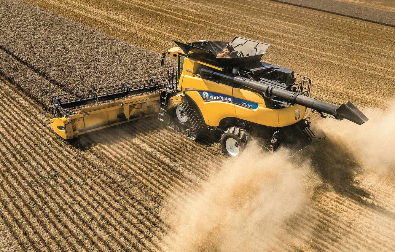 Photo wallpaper Field, Dust, Wheat, 2018, Grain, Harvester, Track, New Holland, New Holland CR10.90 Revelatio