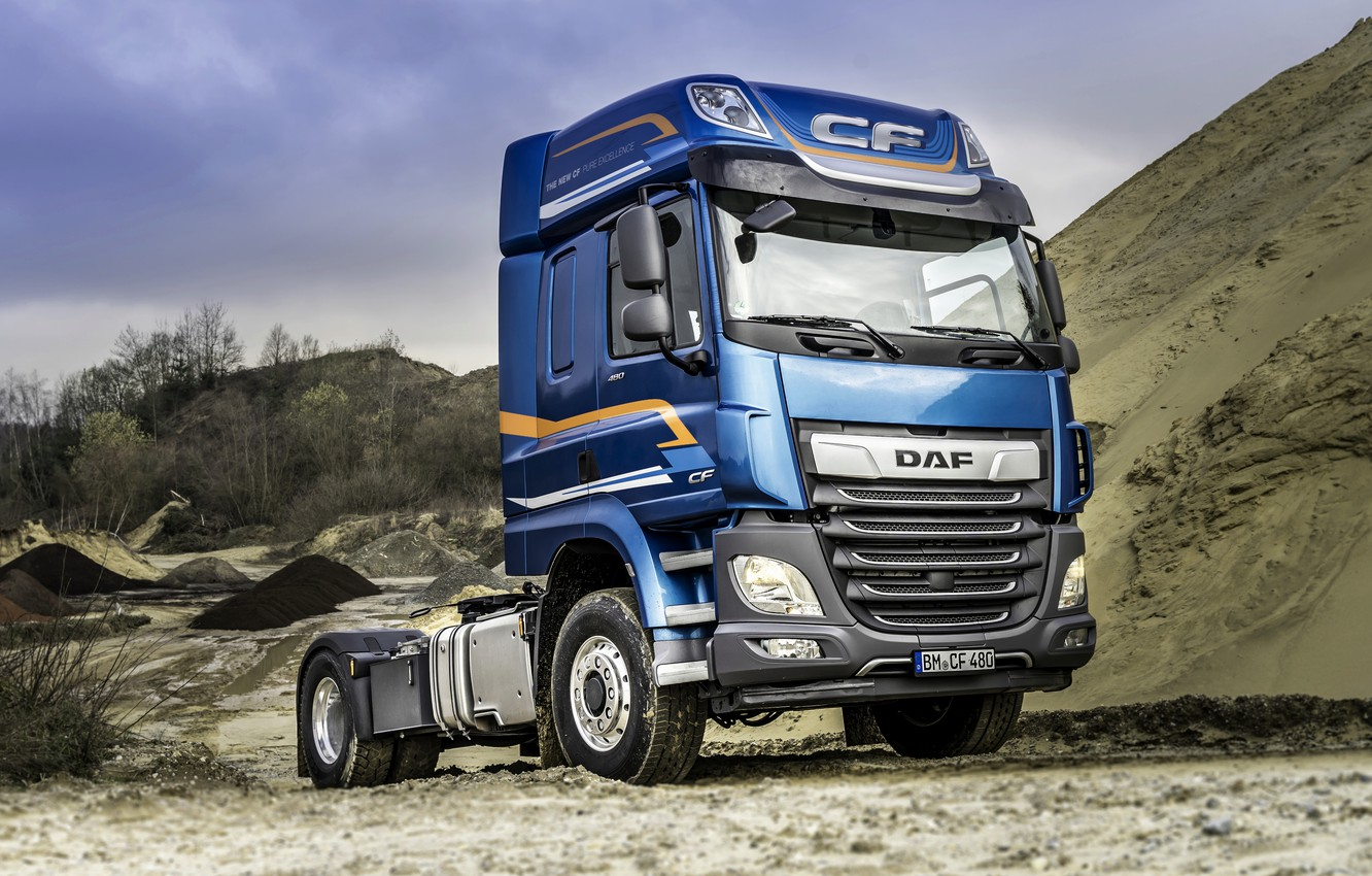 Photo wallpaper sand, blue, truck, DAF, tractor, DAF, DAF CF, CF, DAF CF 480, biaxial