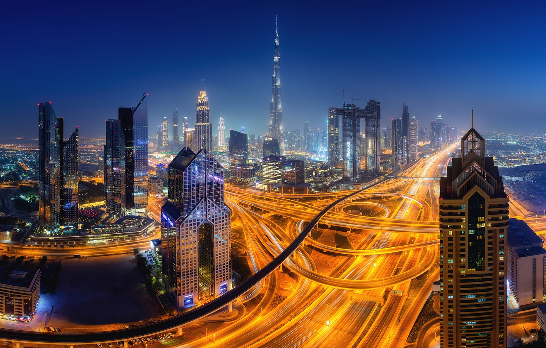 Photo wallpaper lights, the evening, Dubai
