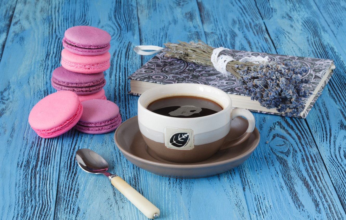 Photo wallpaper coffee, cookies, Cup, book