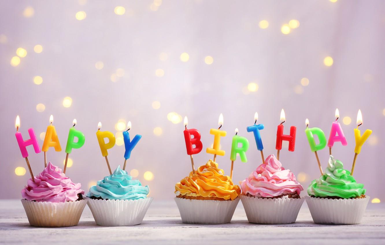 Photo wallpaper background, Birthday, cupcakes