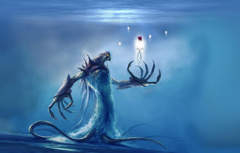 Photo wallpaper fantasy, Monster, underwater, artwork, fantasy art, creature, water spirit