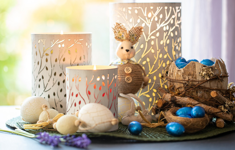 Photo wallpaper light, toy, eggs, sticks, candles, rabbit, Easter, buttons, still life, items, bokeh, composition, candlesticks, tuesok