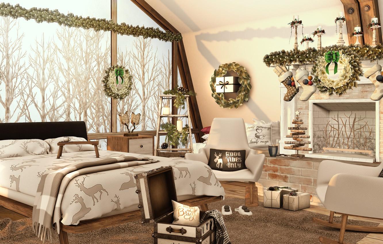 Photo wallpaper trees, design, room, bed, window, christmas, trees, winter, window, room, bed, 3D graphics, bedroom, christmas …
