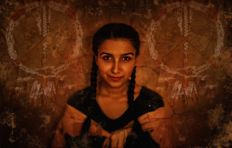 Photo wallpaper girl, gold, brown, beautiful, Indian, pacific, Kide Fotoart