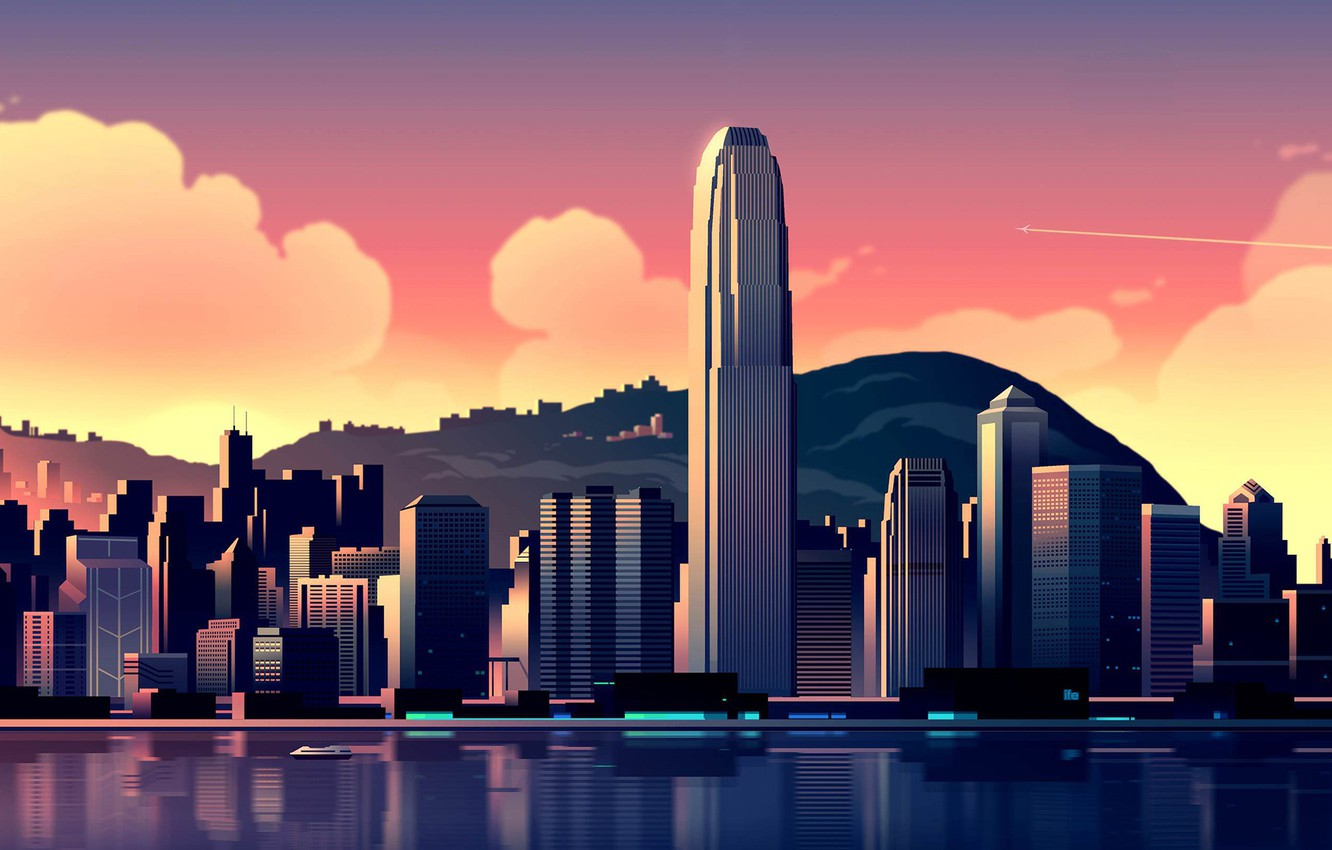 Photo wallpaper the sky, clouds, landscape, mountains, coast, home, Hong Kong, Bay, China, the plane, skyscrapers, Hong ...