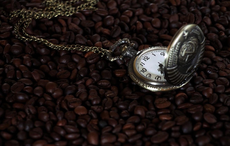 Photo wallpaper time, arrows, watch, coffee, USSR, pocket watch