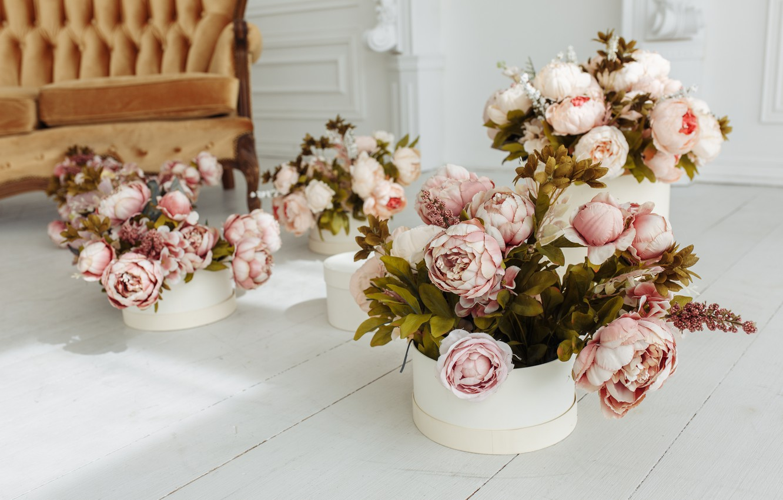Photo wallpaper flowers, room, sofa, vintage, design, pink, flowers, peonies, room, sofa, peonies, provance