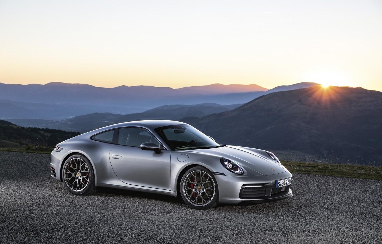 Photo wallpaper sunset, the evening, 911, Porsche, Carrera, Carrera 4S, 2019