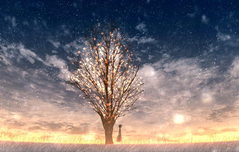 Photo wallpaper snow, sunset, tree, girl