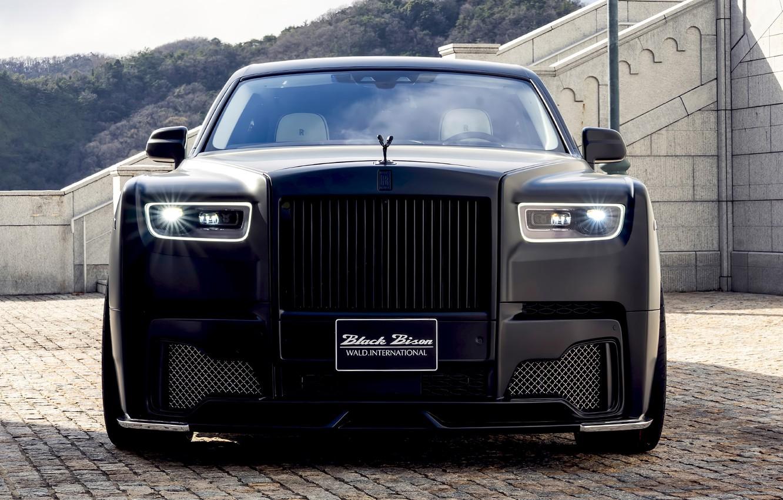 Photo wallpaper Rolls-Royce, Phantom, front view, WALD, Black Bison Edition, 2019, Sports Line