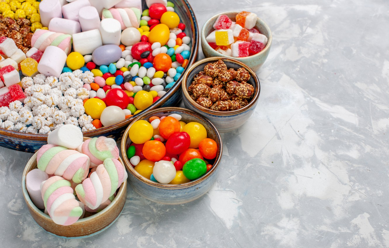 Photo wallpaper candy, sweets, pills, marshmallows