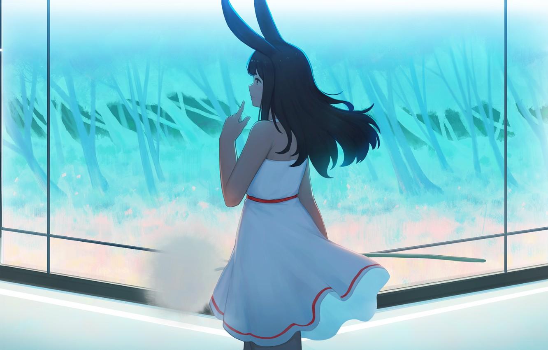 Photo wallpaper girl, room, dandelion, rabbit, ears