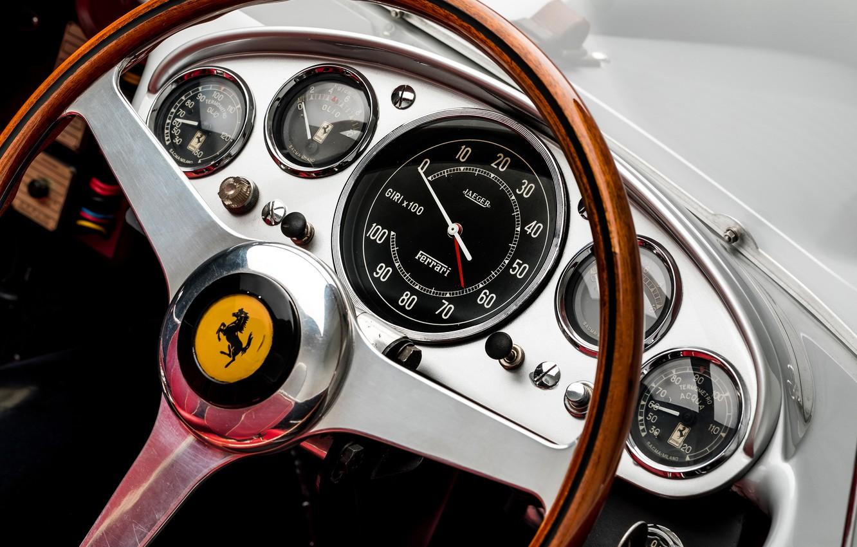 Photo wallpaper Speedometer, Ferrari, Classic, The wheel, 1957, Classic car, Sports car, Ferrari 625 TRC