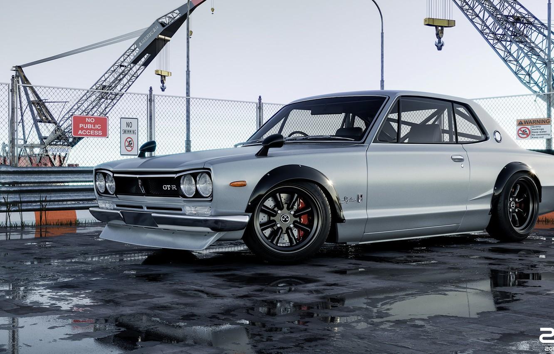 Photo wallpaper Auto, Machine, Grey, Nissan, GT-R, 2000, Skyline, Nissan Skyline, Rendering, 2000 GT-R, Nissan Skyline 2000 …