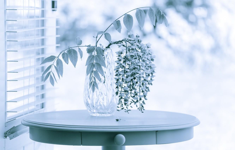Photo wallpaper flowers, table, vase