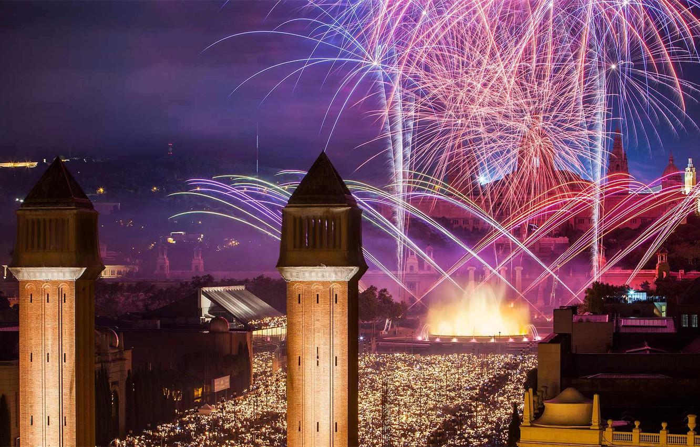 Photo wallpaper tower, fireworks, Spain, Barcelona, The Festival Of La Mercè