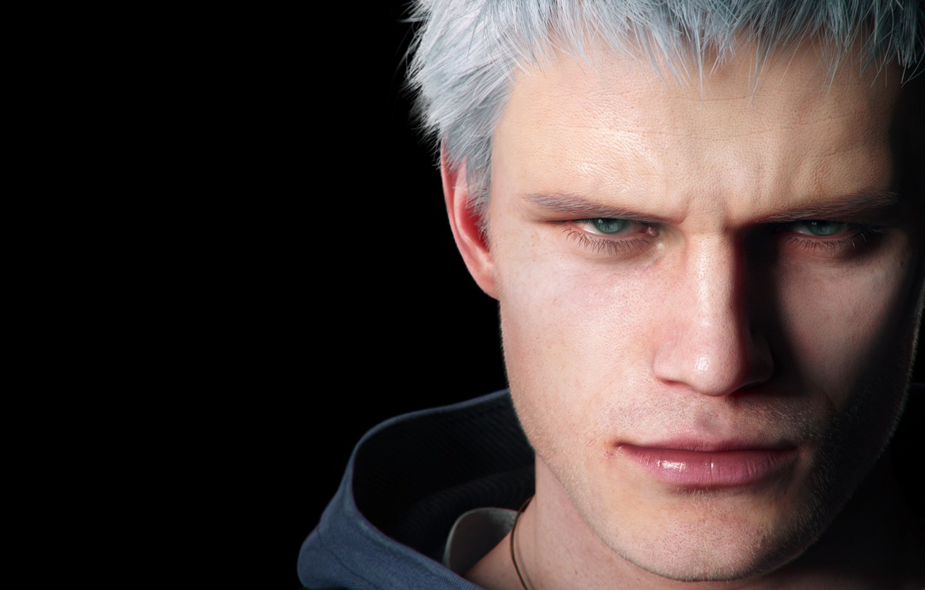 Photo wallpaper eyes, look, face, the game, nose, lips, hood, bristles, character, Nero, Devil may cry 5, …