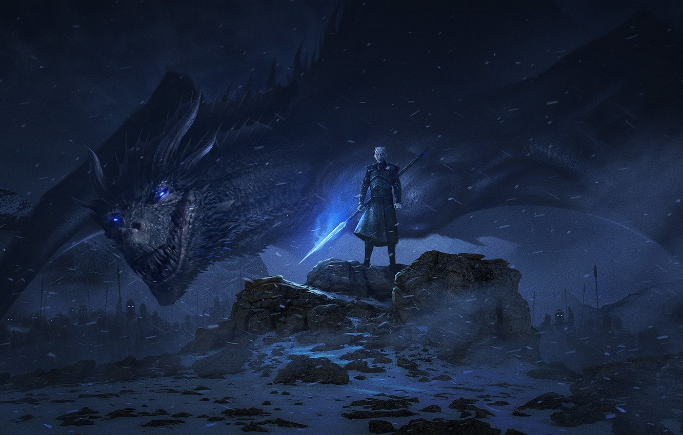Photo wallpaper dragon, art, the series, Game Of Thrones, The Night King