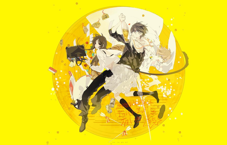 Photo wallpaper girl, round, anime, art, guy, yellow background, A Homeless God, Noragami, Yato, Chieri