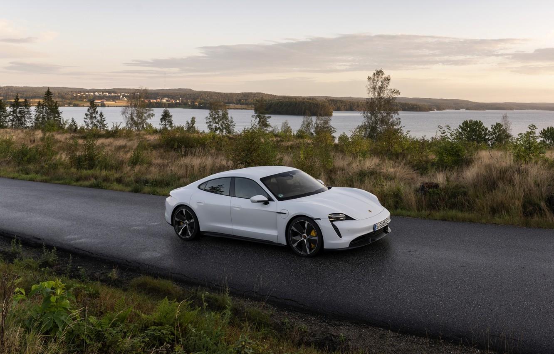 Photo wallpaper Porsche, wet asphalt, Turbo S, 2020, Taycan