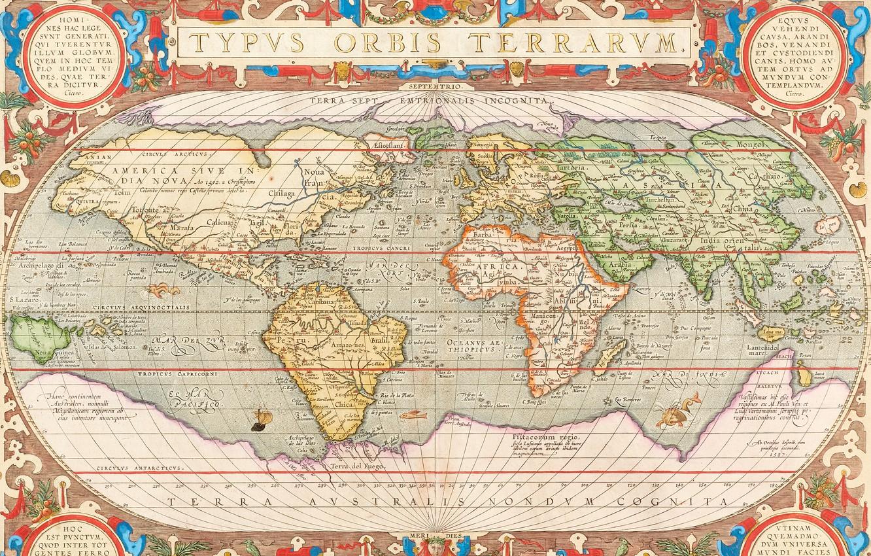 Photo wallpaper World Map, World Map, old maps, Antwerp, 1603, Abraham Ortelius, Abraham Ortelli, Antwerp 1603, Hand-coloured …