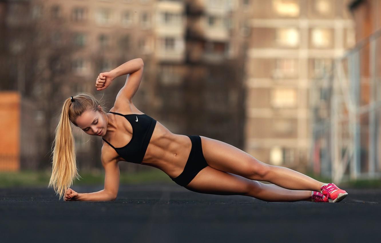 Photo wallpaper sport, girl, woman, model, blonde, body, fitness, tanned