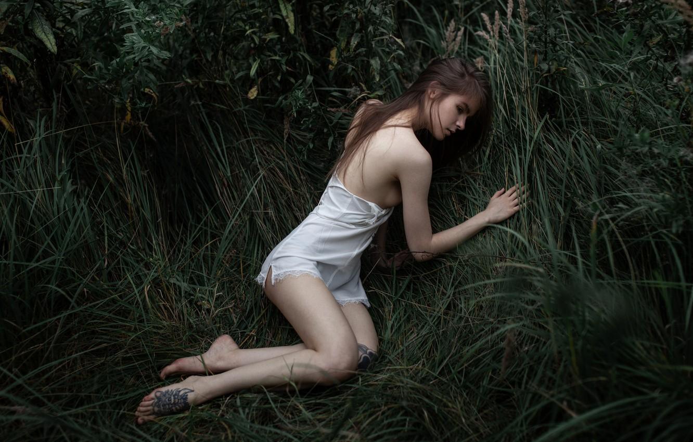 Photo wallpaper legs, in the grass, Vasilisa Sarovskaya, girl in the grass, Andrey Frolov