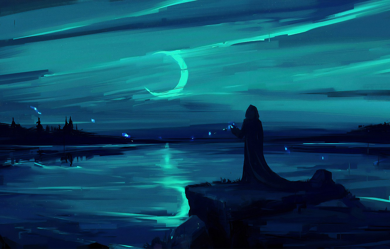 Photo wallpaper moon, fantasy, magic, landscape, night, figure, lake, man, painting, digital art, artwork, environment, fantasy art, …