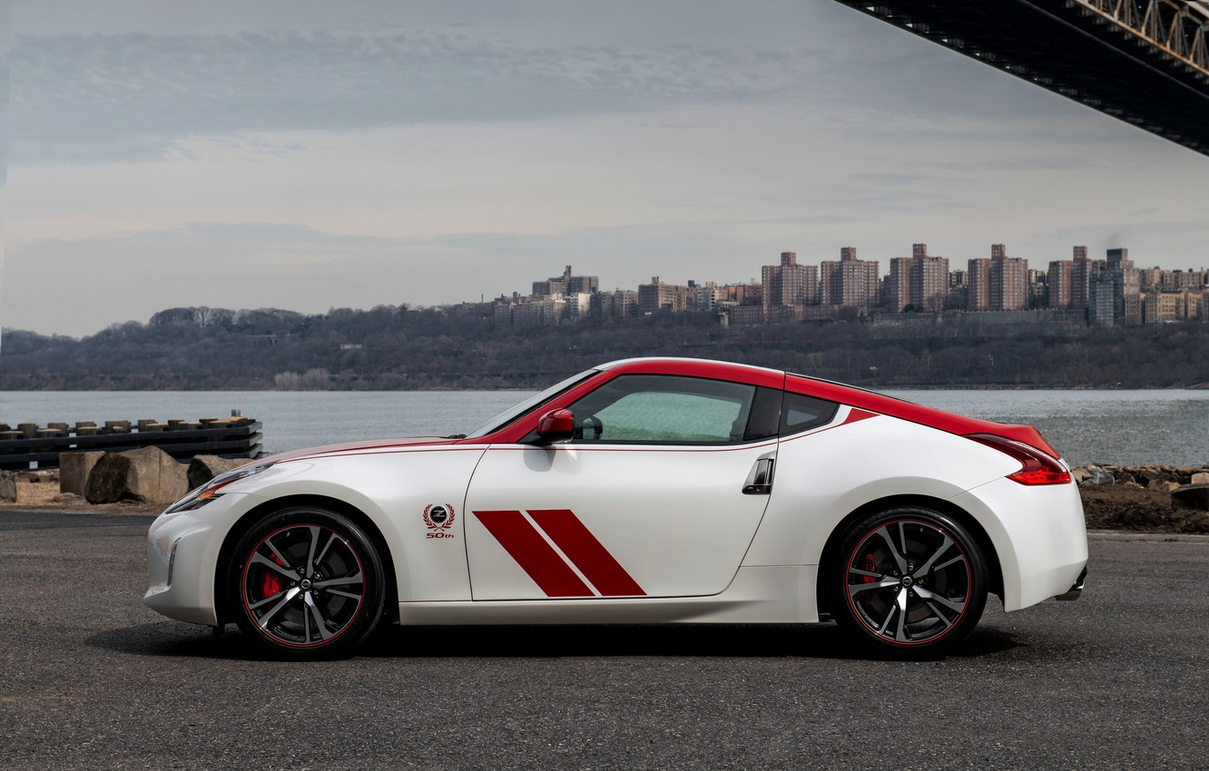 Photo wallpaper strip, coupe, silhouette, Nissan, red-white, 370Z, 50th Anniversary Edition, 2020, 2019