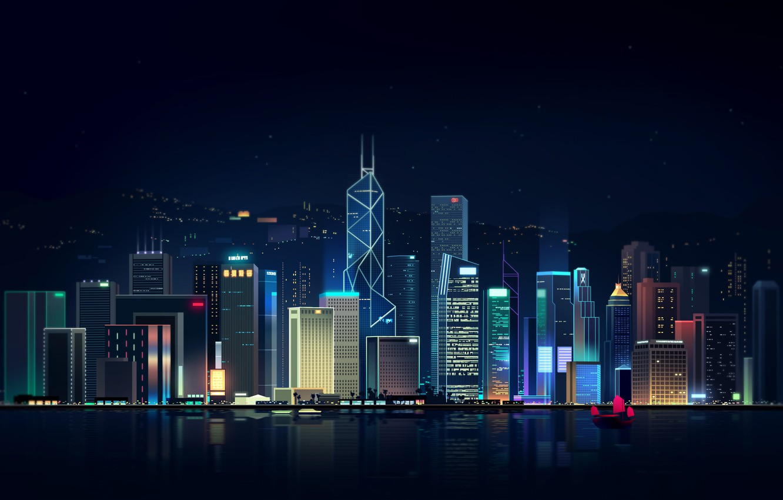 Photo wallpaper Reflection, Sea, Hong Kong, Night, Vector, The city, Neon, Ship, Light, Style, Building, China, Architecture, …