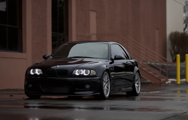 Photo wallpaper BMW, Black, Water, E46, Puddle, Angel Eye