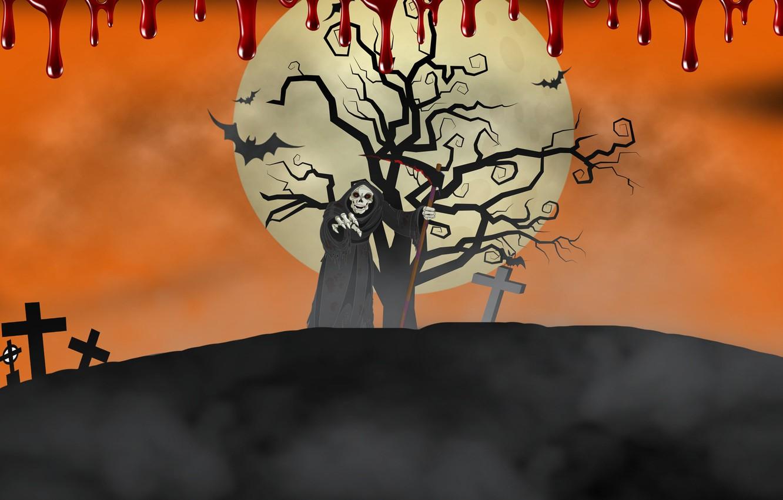 Photo wallpaper death, background, blood, cross, Halloween