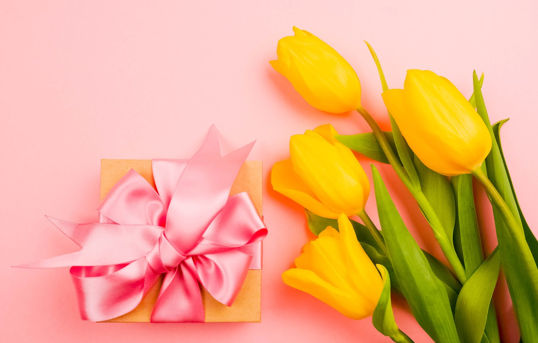 Photo wallpaper flowers, gift, bouquet, tape, tulips, congratulations