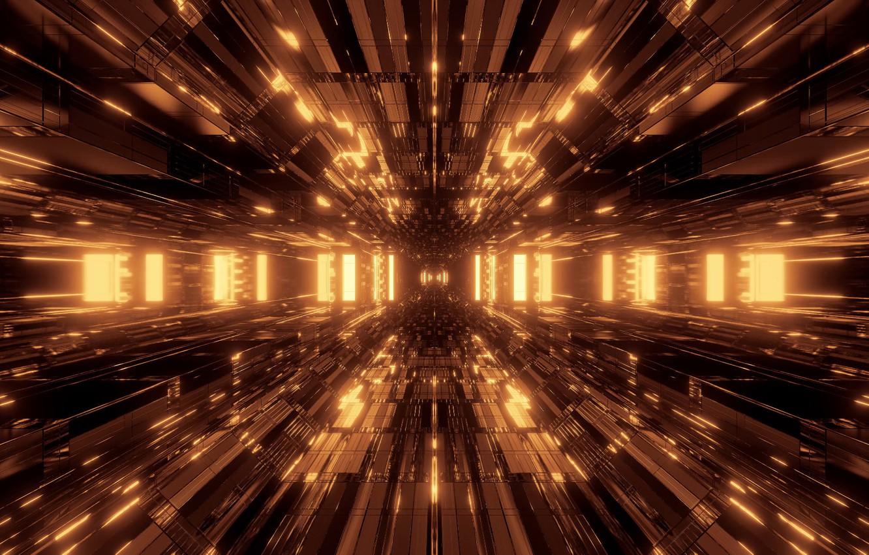 Photo wallpaper lights, future, interior, the room, imagination