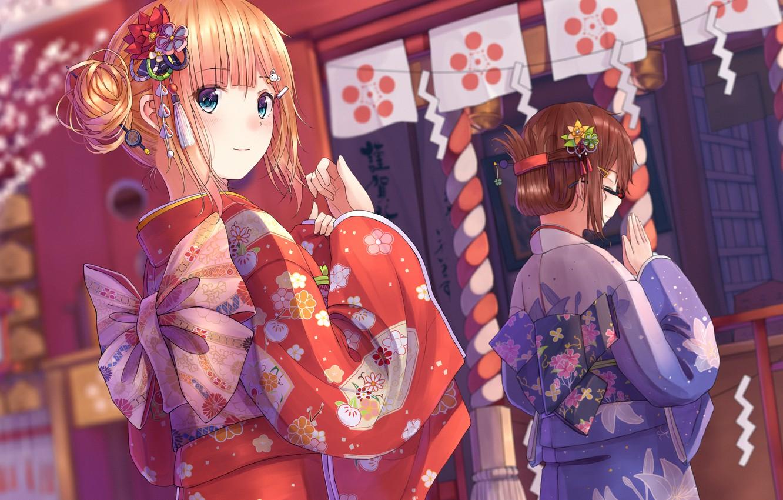Photo wallpaper holiday, Japan, yucata, girls.festival