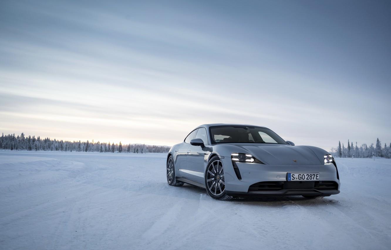 Photo wallpaper snow, grey, plain, Porsche, 2020, Taycan, Taycan 4S
