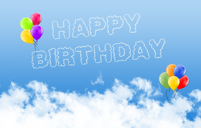 Photo wallpaper photo, Clouds, The inscription, Birthday, A balloon